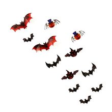 12PCS 3D Bats Wall Stickers DIY Reusable Self-Adhesive Wall Art Decals For Halloween Party Home Decor(China)