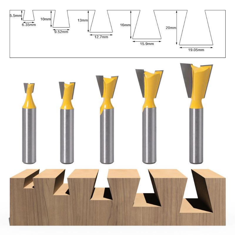 8mm Milling Cutter Bit 1/4 3/8 1/2 5/8 3/4 Dovetail Groove Router Woodwork Tools