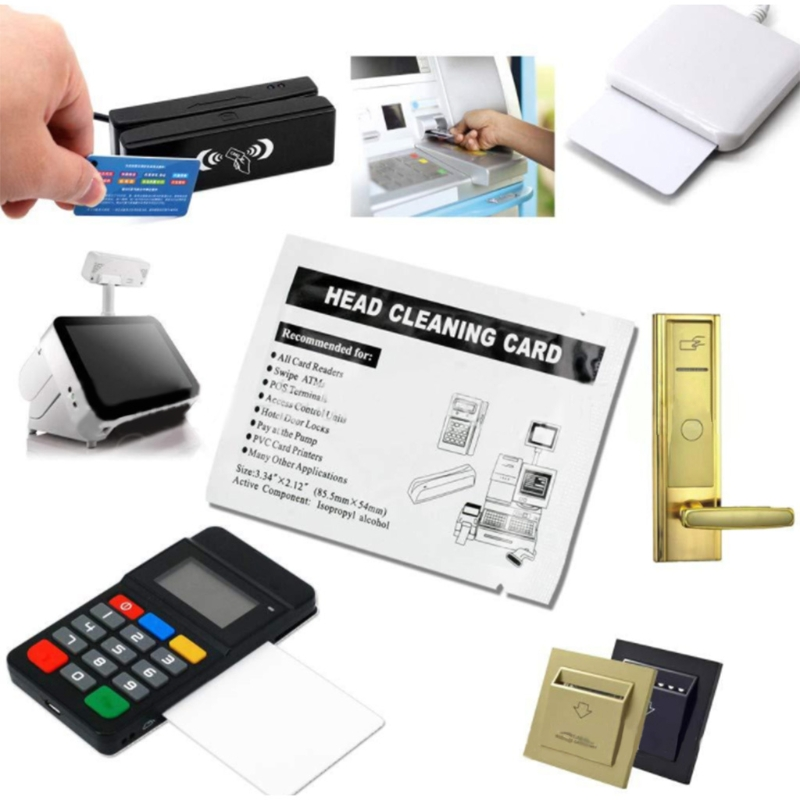 50 Pcs Cleaning Card Printer Cleaning Card Professional Cleaning Card For Hotel Door Locks/POS/ATM/Vending/Slot Machines