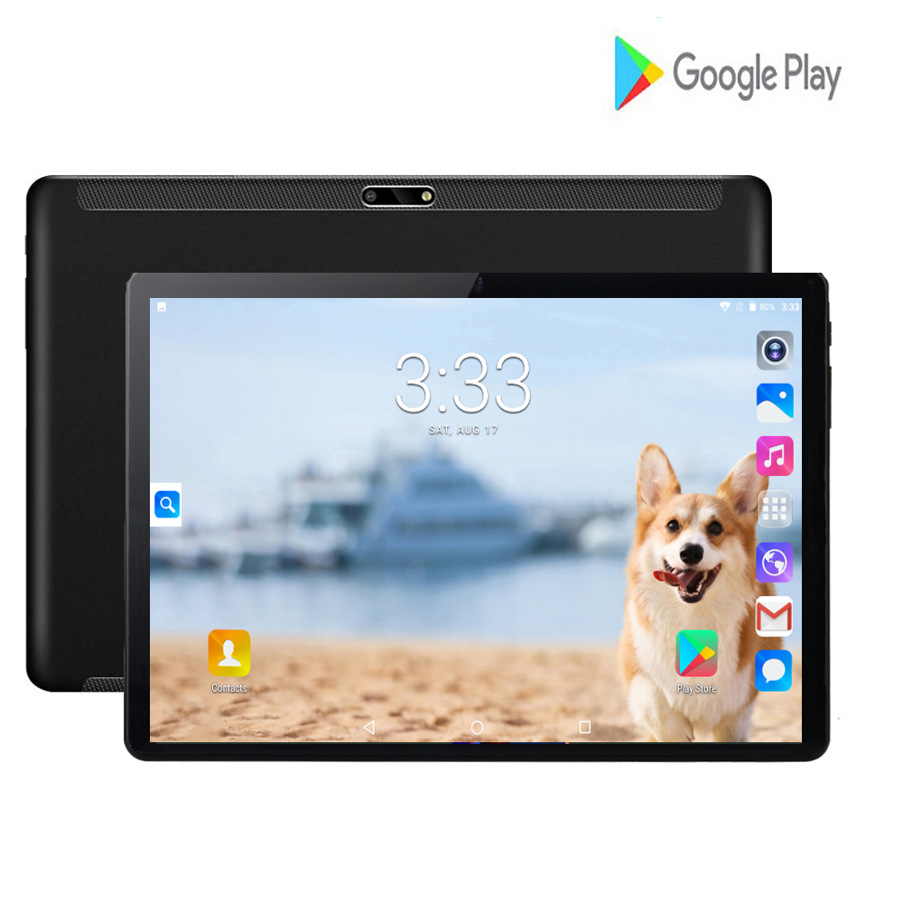 New Google Large Screen 2.5D Glass 10 Inch Tablet Android 7.0 Quad Core 3G Wifi 2GB RAM 32GB ROM 8MP GPS Tablet 10.1 + Gifts