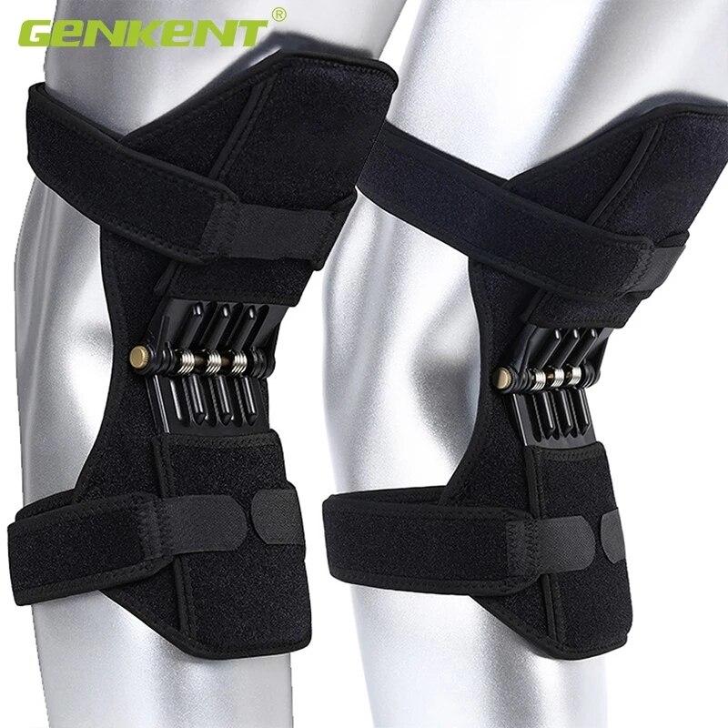 Joelheiras de apoio joelheiras respirável antiderrapante elevador joelheiras poderoso rebote primavera força reforço do joelho