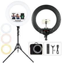 FOSOTO – anneau lumineux Led 18 pouces, 2700 -6500K, éclairage annulaire pour photographie, appareil photo, téléphone, maquillage, avec trépied et télécommande