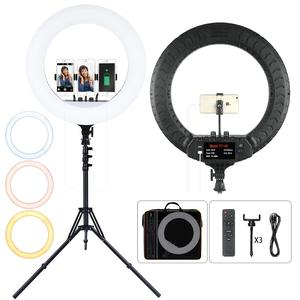 Image 1 - FOSOTO 18 Inch Led Ring Light 2700  6500K Photography Lighting Camera Phone RingLight Makeup Ring Lamp With Tripod And Remote