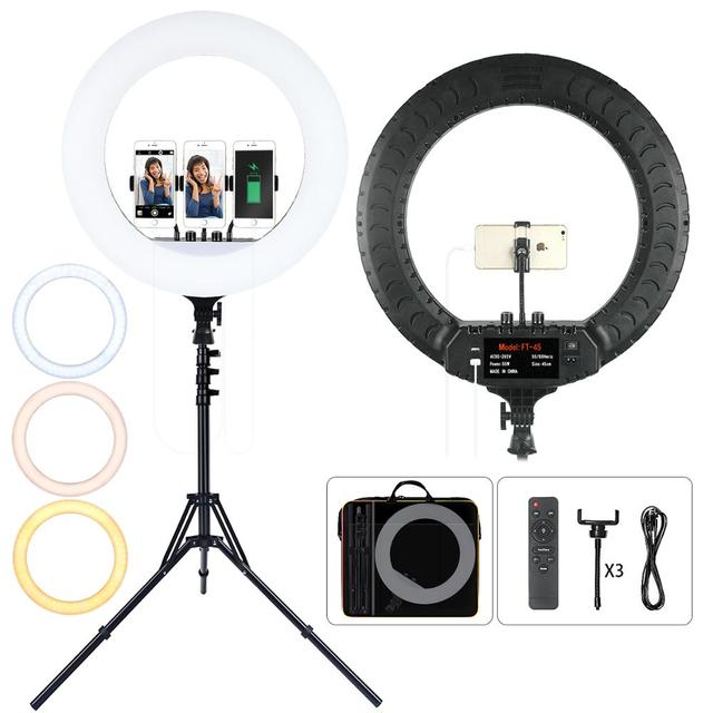 FOSOTO 18 Inch Led Ring Light 2700  6500K Photography Lighting Camera Phone RingLight Makeup Ring Lamp With Tripod And Remote