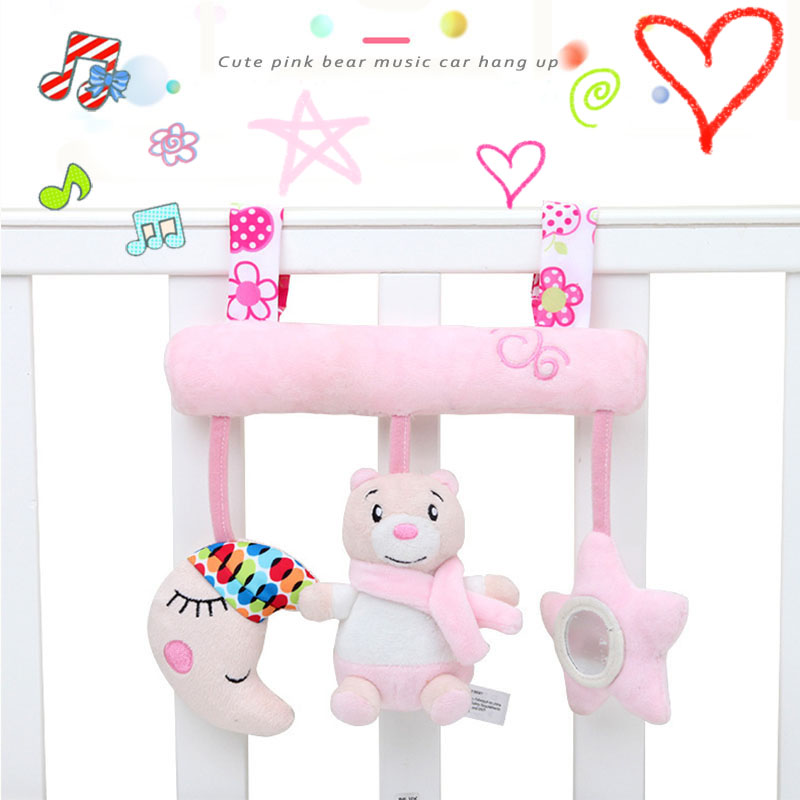 Baby Toys Rattles Cute Pink Bear Music Crossbar Crib Mobile Newborn Toy For Stroller Hanging Bed Hanging Plush Educational Toys