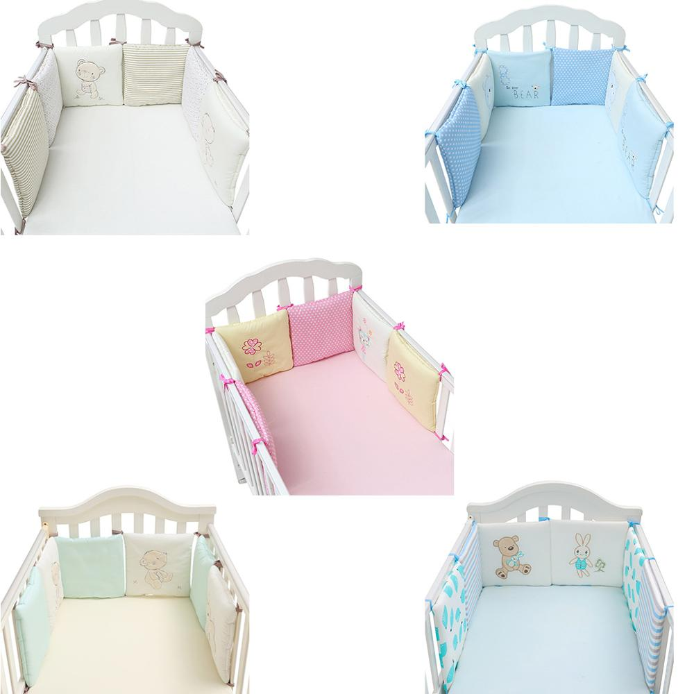 6 Pcs Baby Crib Bumpers Infant Cot Breathable Cotton Bed Protector Bedding Set 24BE