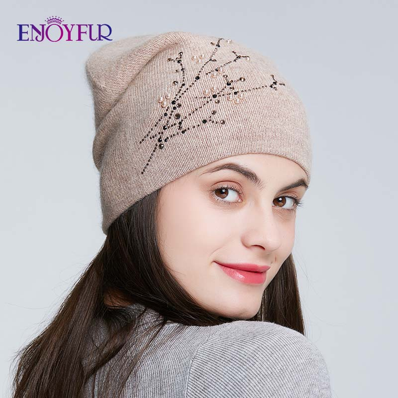 ENJOYFUR Rhinestones Knitted Winter Hats For Women Warm Angora Rabbit Female Cap Lady's Autumn Thick Beanies