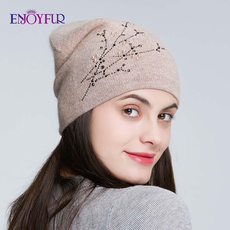 ENJOYFUR Rhinestones Knitted Winter Hats For Women Warm Angora Rabbit Female Cap Lady's Autumn Thick   Beanies