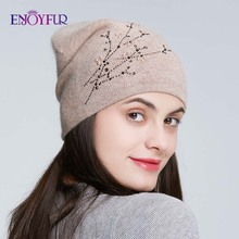 ENJOYFUR Rhinestones Knitted Winter Hats For Women Warm Angora Rabbit Female Cap Ladys Autumn Thick Beanies