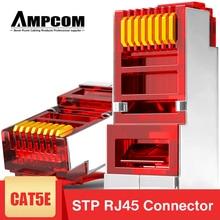 AMPCOM CAT5e מסוכך RJ45 מודולרי Plug מחבר 8P8C מלחץ סוף Ethernet כבל Ethernet מחבר זהב מצופה 50U