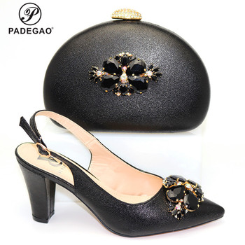 2020 Mature Design Italian Ladies Shoes and Bag with Shinning Crystal Peep Toe Sadals for Royal Wedding Party in Black Color