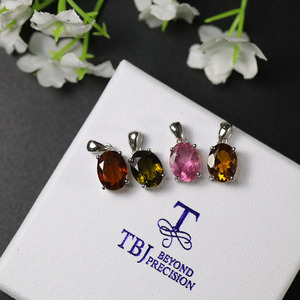 Image 2 - Natural Colorful Tourmaline Pendant necklace ,opal pendant necklace 925 sterling silver fine jewelry for women tbj jewery 2020
