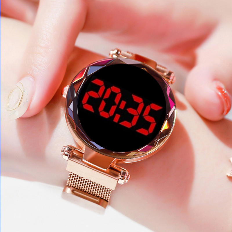 Women's Watch LED Electronic Gypsophila Watch Fashion Simple Sports Female Clock Magnet Buckle Quartz Watch New Reloj Mujer 2020
