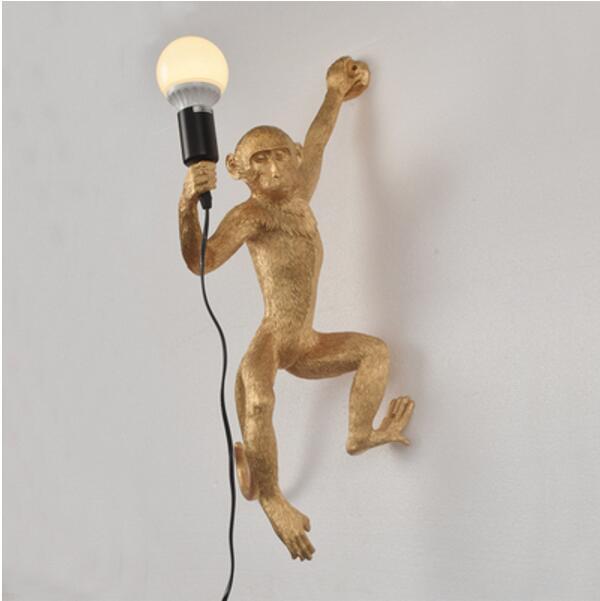 Resina preto branco macaco luz pingente para sala de estar lâmpadas sala estar estudo arte sala luzes led lustre com e27 escurecimento lâmpada led - 3