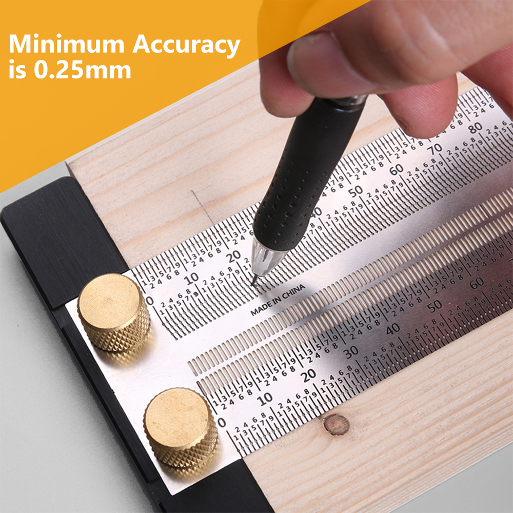 High-precision Scale Ruler Wnew Precision T-type Mark Line Gauge Scribing Ruler Stainless Woodworking Measuring Tool