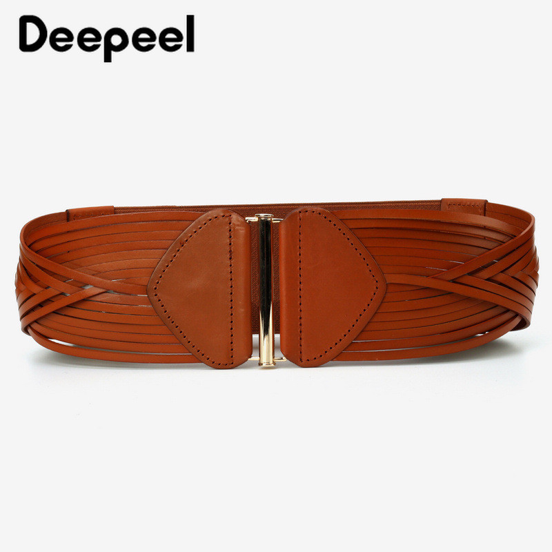Deepeel 1pc 9*72cm Women Top Layer Cowskin Stripe Plait Cummerbunds Zinc Alloy Buckle Accessories Wide Elastic Belt For Dress