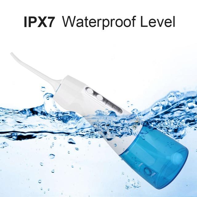 Irrigador Oral recargable por USB, chorro de agua de 300ML, tanque de agua portátil de viaje, limpiador Dental a prueba de agua 2
