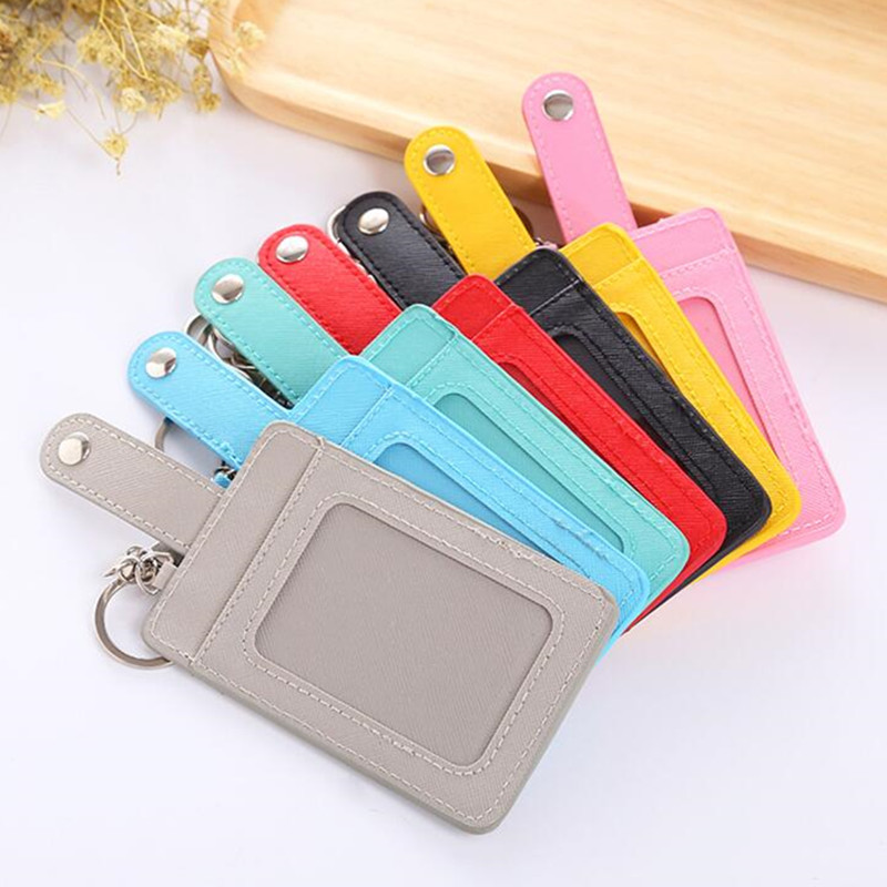 Pu Leather Student Bus ID Card Holder Solid Color Women Men ID Credit Card School Office Id Badge Holder With Keychain Keyring
