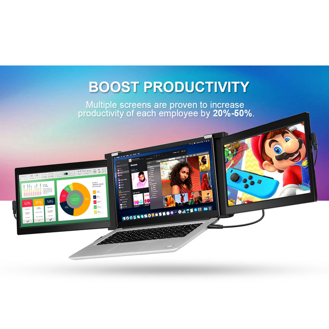 Portable HDMI Dual Gaming Monitor 13.3 Laptop Screens 4