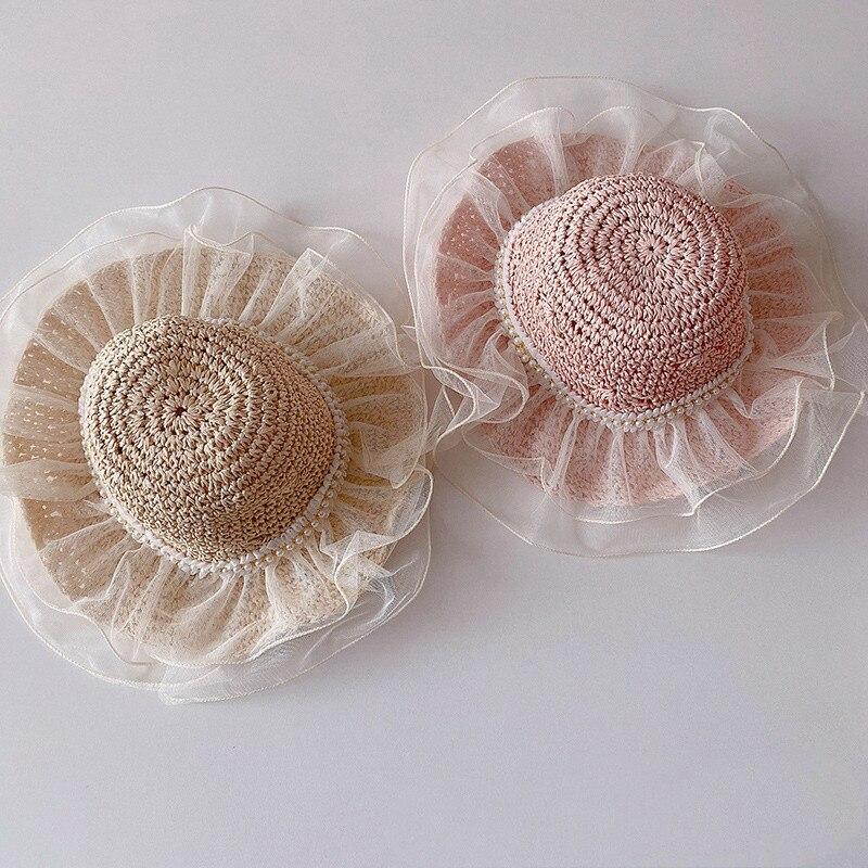 Summer korean style baby girls fashion lace patchwork princess beach hats children 3 colors sunbonnet
