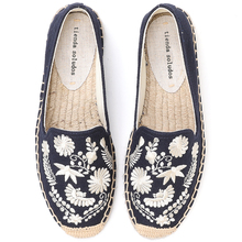 Womens Casual Espadrilles Slip-on  Breathable Flax Hemp Canvas for Girl Shoes Fashion Embroidery Comfortable Ladies Girls