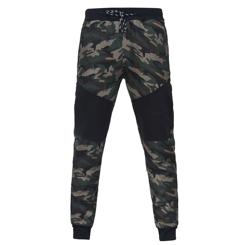 Spring And Summer New Style Men Slim Fit Camouflage Joint Trousers Men's Trend Casual Sports Ankle Banded Pants Closing Sweatpan
