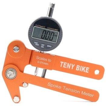 Spoke Tension Tester Digital Scale 0.01Mm Bike Indicator Meter Tensiometer Bicycle Spoke Tension Wheel Builders Tool-Orange + Bl