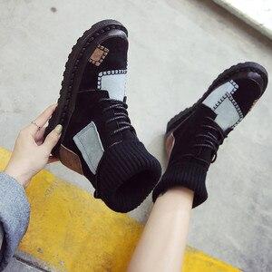 Image 4 - BIGFIRSE Sneaker kobiety mieszkania stado sznurowane buty kobiece obuwie moda Sneakers kobiety wysokie góry Lady Patcahwork Martin buty