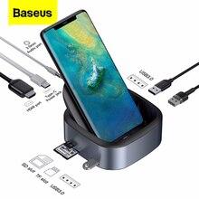 Baseus Type C HUB Đế Cắm Cho Samsung S10 S9 Dex Station USB C Sang HDMI 3.5Mm Jack Cắm Dock adapter Dành Cho Huawei P30 P20 Pro