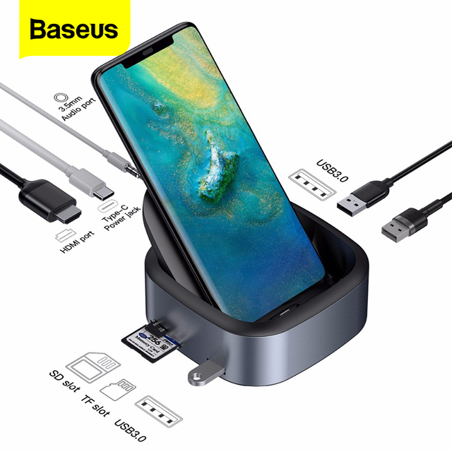 Baseus Type C HUB Docking Station For Samsung S10 S9 Dex Station USB C To HDMI 3.5mm Jack Dock Adapter For Huawei P30 P20 Pro
