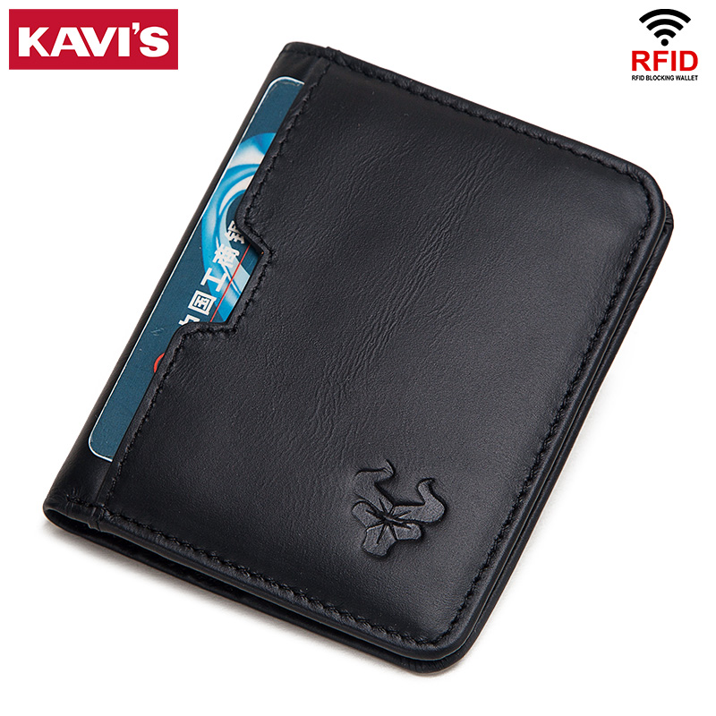 KAVIS Black Purse Genuine Leather Men's Wallets Thin Male Wallet Card Holder Slim Card Holder Cowskin Soft Leather Mini Coin Bag