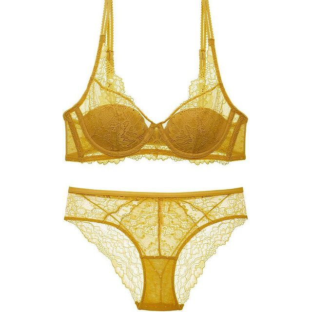 HONVIEY  New Yellow Lace Lingerie Push Up Adjusted Straps Bra and Panty Sets Triangle cup Sponge free Sexy  Womens Intimates