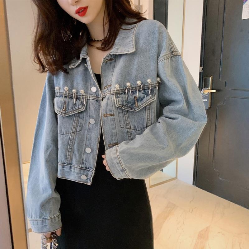 Denim Jackat Women 2020 Spring Pearls Vintage Jackets Korean Style Loose Streetwear Cool Female Coat
