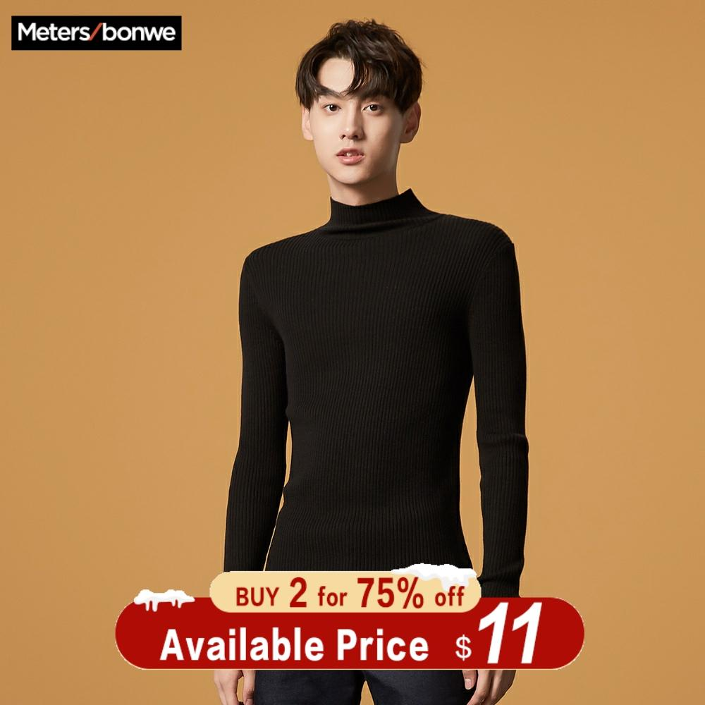 Metersbonwe Bottoming Sweater Men 2019 Autumn Winter Fashion Basic Knitted Solid Colour Men Cotton Sweater High Quality Clothes