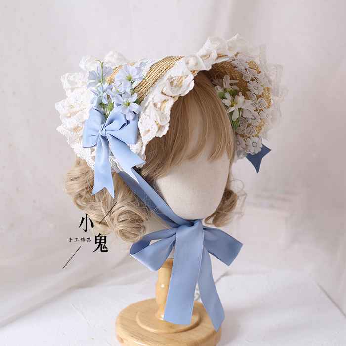 Mori Girl Retro Lolita Handmade Straw Hat Gorgeous Elegant Tea Party Flat Cap Pastorale Style Multilayer Lace Bonnet Bnt Bb Hat