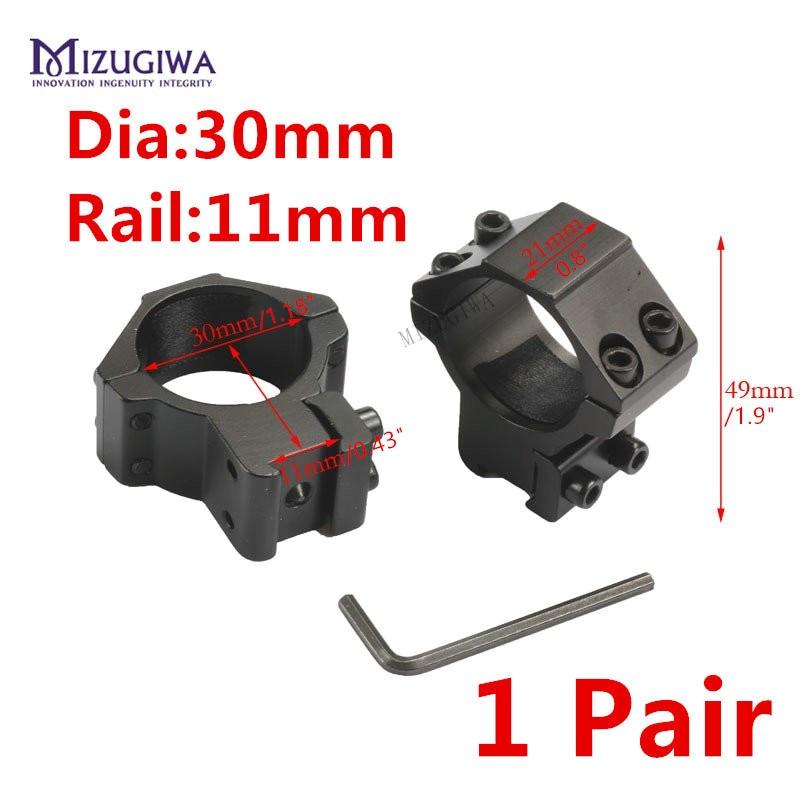 2 Pcs / Pair MIZUGIWA 30mm Dia Scope Rings 11mm Weaver Picatinny Dovetail Rail Riflescope For Rifle Scope Pistol Airsoft Hunting