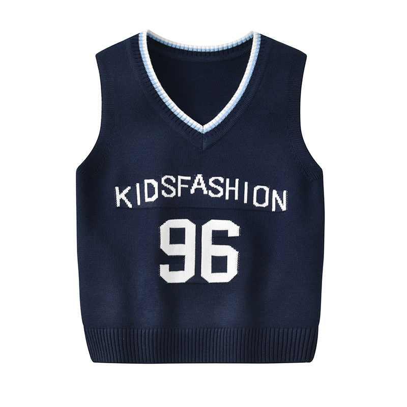 子供ベビー男の子 2-8T V ネック制服数字弾性セーターベストノースリーブニット学校のセーターの /女の子