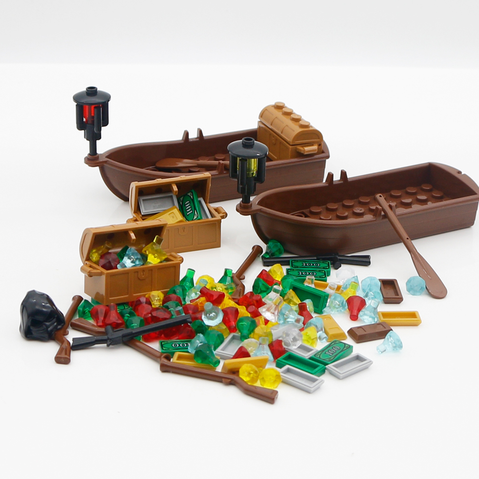 Building Blocks City Accessories Pirates Treasure Jewelry Gem Crystals Stone boats ship Fiigure compatible LegoINGlys Bricks Toy