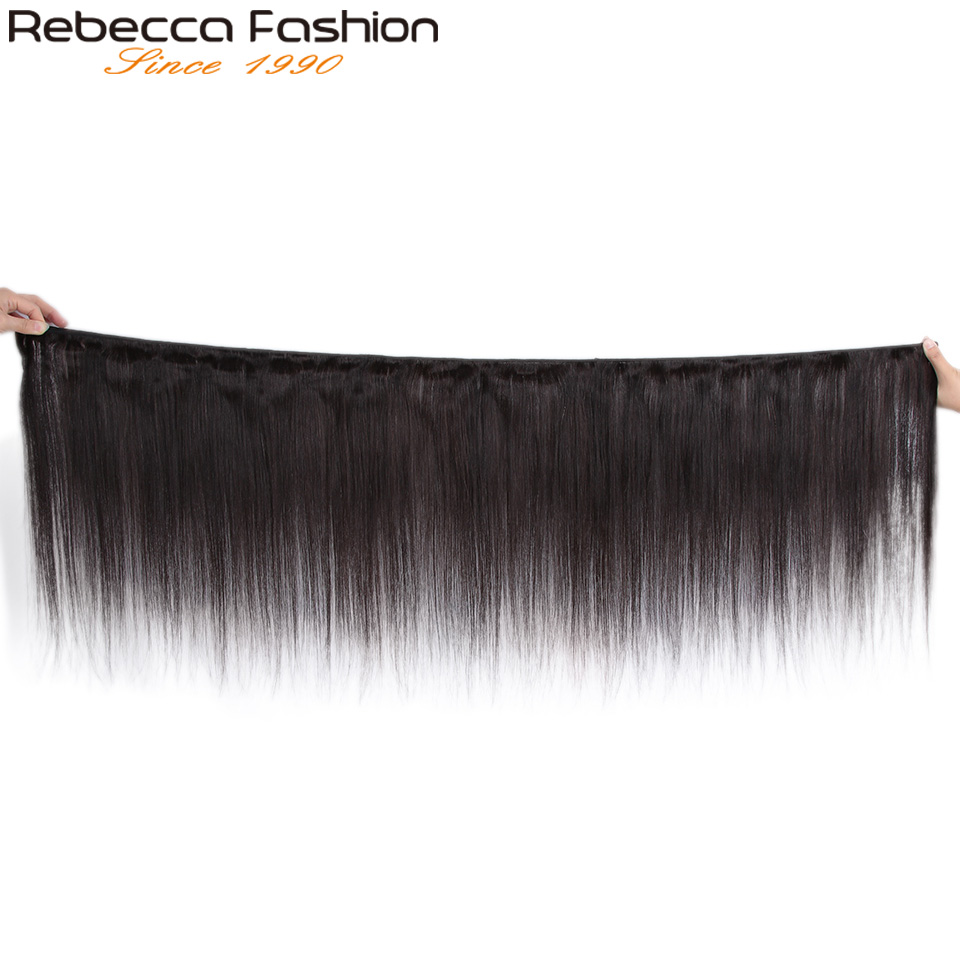Image 2 - Rebecca Straight Hair Bundles Deals Peruvian 100% Human Hair Weave Bundles 8 To 28 Inch Straight Human Hair ExtensionsSalon Bundle Hair   -