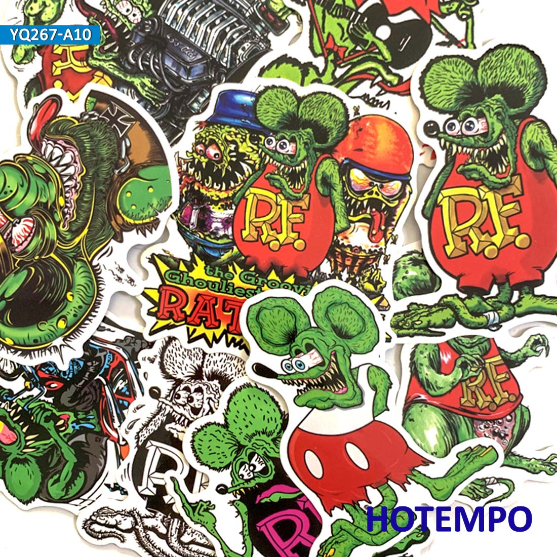 10pcs Rat Fink Mouse Stickers For Mobile Phone Laptop Luggage Guitar Case Skateboard Bike Car Stickers