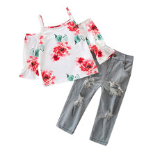 Get more info on the Toddler Baby Girl Clothing 2PCs Kids Girls Flower Print Sling Pagoda Sleeve Tops+Denim Pants Outfits sets