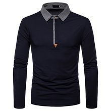 2019 New Summer Mens Polo Shirt Long Sleeve Turn-over Collar Slim Tops Casual Breathable Solid Color Business Shirt Clothing(China)