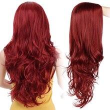 AISI belleza largo ondulado Rojo Negro Rosa pelucas sintéticas para mujeres Cosplay fiesta femenina diario falso pelo resistente al calor