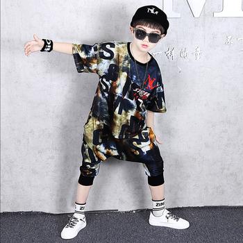 Letnie dzieci chłopcy odzież zestaw luźne sportowe dziecięce dzieci z krótkim rękawem Tshirt + spodnie Harem moda dwuczęściowy garnitur T-shirt 2020 tanie i dobre opinie Extrayou Pasuje prawda na wymiar weź swój normalny rozmiar Drukuj Oddychające H099 O-neck COTTON Pełna black 110-160