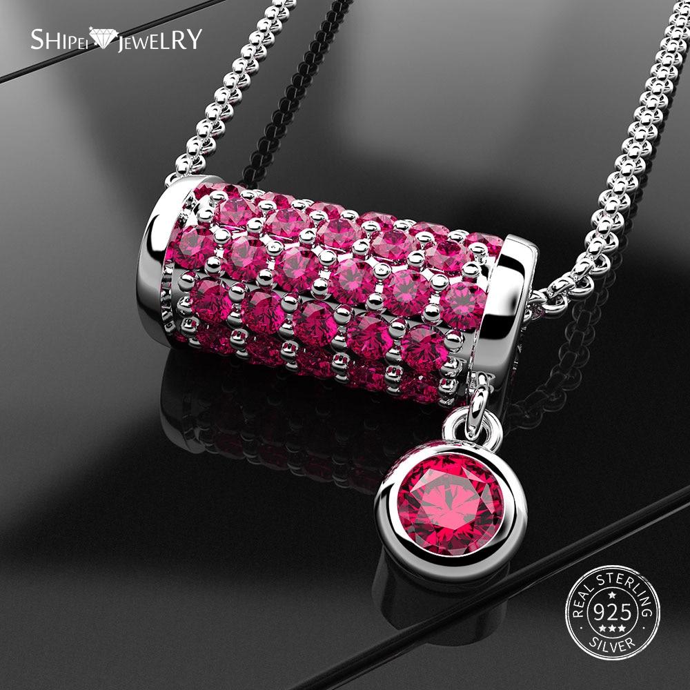 Shipei Column Pendant Necklace For Women Genuine 100% 925 Sterling Silver Sapphire Emerald Column Wedding Necklace Fine Jewelry