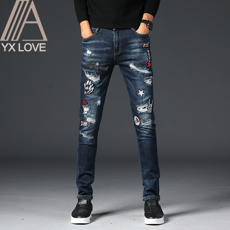 Embroidery Blue Men Jeans Fantastic Patterns Quality Brand Slim Elastic Comfortable Hiphop Pants Multiple Styles Trousers