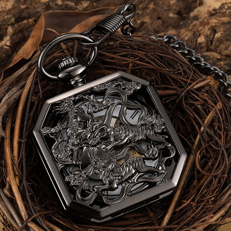 Animal Mechanical Pocket Watch Mascot Unicorn 3D Engraved Pendant Fob Chain Reloj For Men Antique Bronze Dragon Montre De Poche