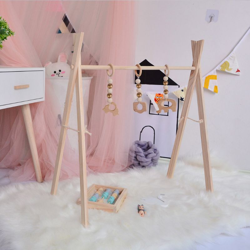 Baby Wooden Play Gym Baby Foldable Activity Gym Frame Detachable Living Kids Bedroom Decoration Early Educational Toys | Happy Baby Mama