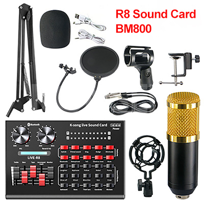 bm 800 Microphone studio R8 Sound Card Kits bm800 Condenser Microphone for PC Computer Phone Karaoke Singing Gaming Mic Stand