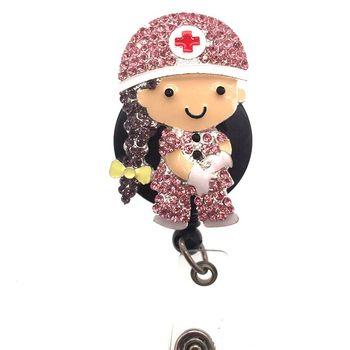30pcs/lot Newl medical nurse Rhinestone nurse Retractable ID Badge Holder reel